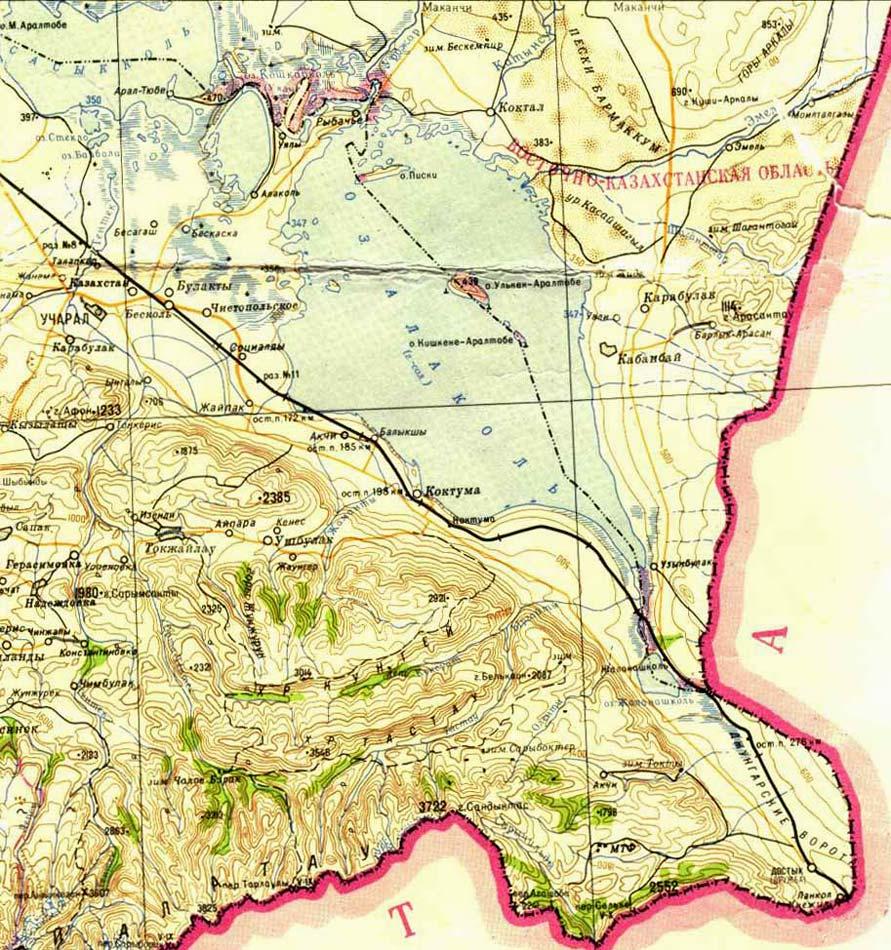 карта озера Алаколь, Казахстан
